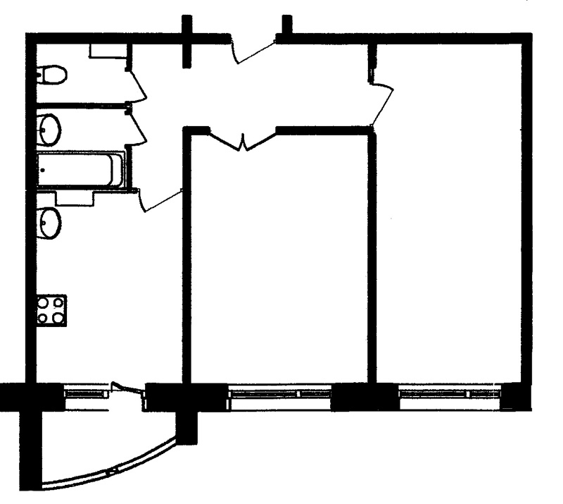 2-комнатные квартиры Sобщ. от